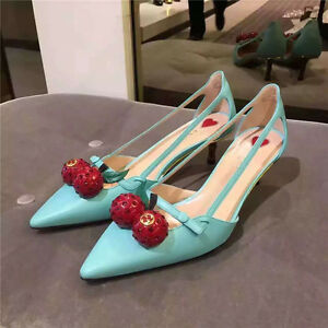 10839d8a188 Womens Elegant Pointy Toe Mid Kitten Heels Cherry Decor Side Hollow ...