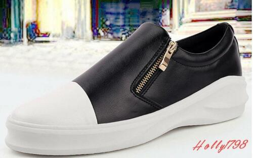 Fashion Korea Mens Zip Slip on Sneakers Casual Sport Athletic Board Shoes New