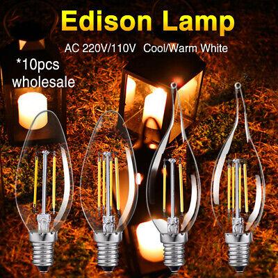 E14 4W 8W Edison Retro Glühbirne C35 LED Vintage Kerze//Flamme Licht Lampe 75CF