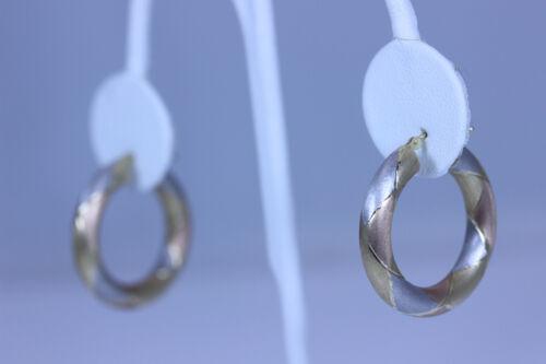 """Beautiful 14K Tricolor Gold Hoop Earrings 1.25""""- 1"""