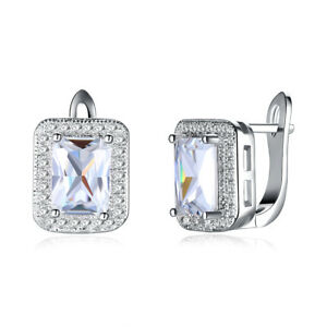 Silver-2-00-ct-Round-6mm-CZ-Leverback-Earrings