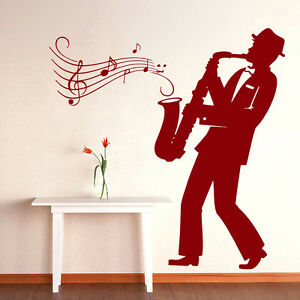 Music Wall Decals Saxophone Jazz Orchestra Vinyl Decal Sticker Home Decor Ml36 Ebay