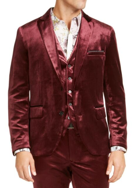 INC Mens Blazer Red Size Small S Velvet Two-Button Slim Fit Notched $149 #244