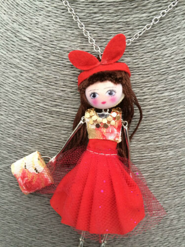 Unusual French Doll Pendant Statement Necklace Girls Teen Quirky Gift