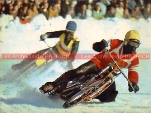 Courses-sur-Glace-un-Russe-en-tete-Carte-Postale-Moto-Motorcycle-Postcard
