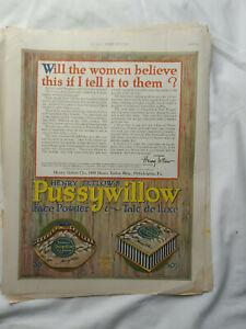 Vintage-1921-Orig-Magazine-Ad-11x14-Pussywillow-Face-Powder-Talc-De-Luxe