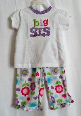 Clothing, Shoes & Accessories Girls 2t Big Sis 2 Pcs Pajama Set S/s Shirt & Flower Pants Euc ~ Carter's Girls' Clothing (newborn-5t)