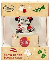 Disney Mickey Mouse & Minnie Christmas Snow Globe Sparkling Holiday 2016 Gift