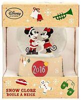 Disney Mickey Mouse & Minnie Christmas Snow Globe Sparkling Holiday 2016 Gift