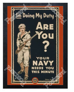 Historic-WWI-Recrutiment-Poster-Navy-needs-you-this-minute-Postcard