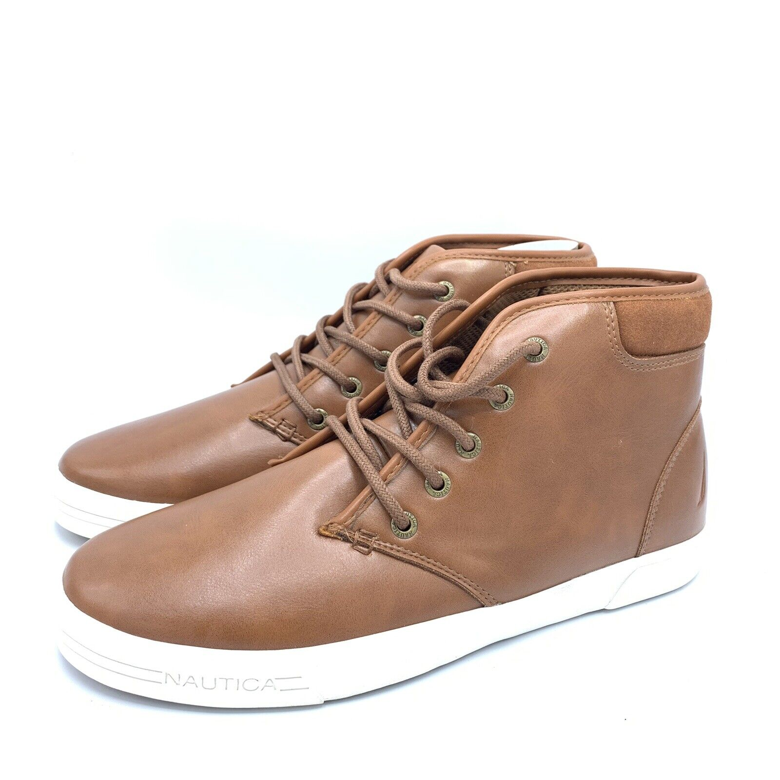 75 NAUTICA Mens Brown Leather Breakwater Sneakers Casual Lace Up shoes Size 9.5