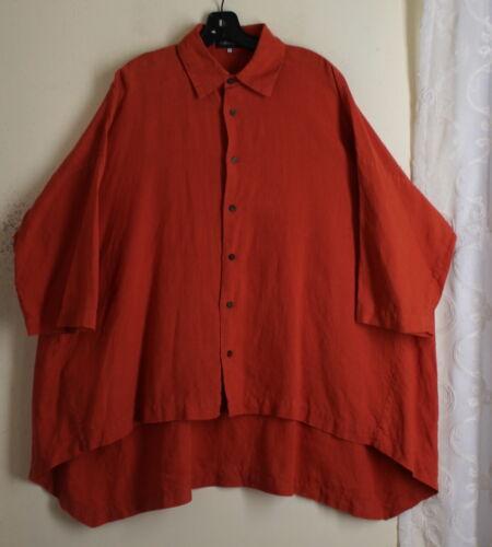 Eskandar 1 RICH ORANGE Linen Hi-Low Long Boxy Shir