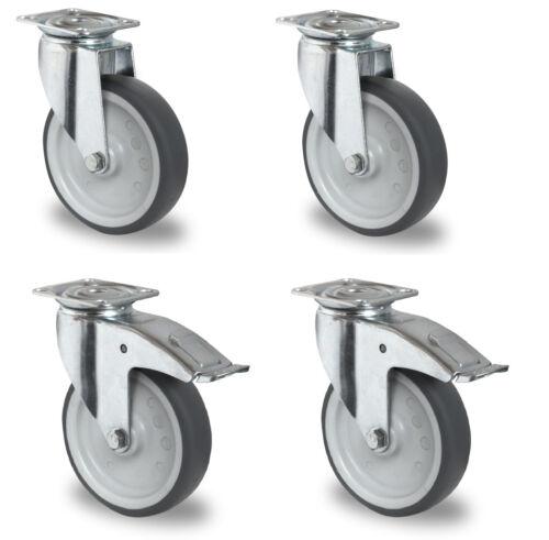 Satz Apparaterollen Gummi grau spurlos 100 Platte Lenkrolle mit ohne Bremse