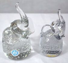 Vintage Clear Glass Elephant Paper Weight With Controlled Air Bubbles, Set of 2