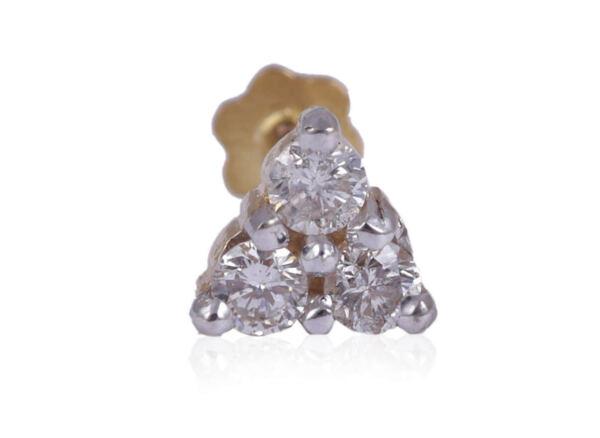 0,13 Cts Runde Brilliant Cut Diamanten Nase Stud In Feinen Hallmark 18k Gelbgold Ein Kunststoffkoffer Ist FüR Die Sichere Lagerung Kompartimentiert