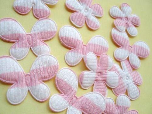 50 Pink//White Stripe Butterfly /& Flower Applique//Craft//Fabric//Mix Set//Trim H217