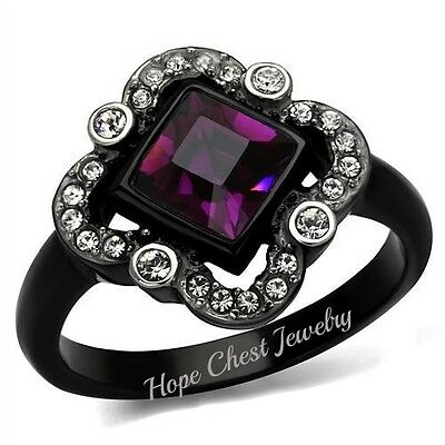 WOMEN'S BLACK STAINLESS STEEL PRINCESS CUT PURPLE CRYSTAL FASHION RING SZ 5, 7