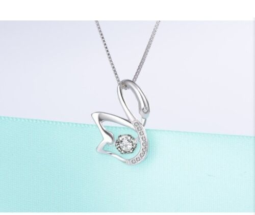 Dancing Sterling Silver Cubic Zirconia Love Swan Halo Pendant Necklace Gift Box