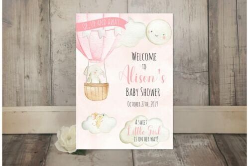 Personnalisé Ballon Baby Shower inscription bienvenue-Rose Gris Bleu