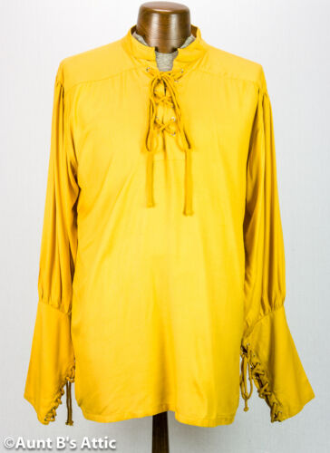 Pirate Shirt Men/'s Gold Rayon Lace Front Mandarin Collar Period Costume Shirt