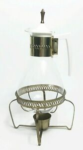 Vintage-Coffee-Carafe-White-Handle-Complete-Metal-Candle-Warmer-Stand-Retro
