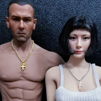 """Custom 1:6 Scale Cross Pendant Necklace For 12/"""" Female Male PH UD Body Doll"""
