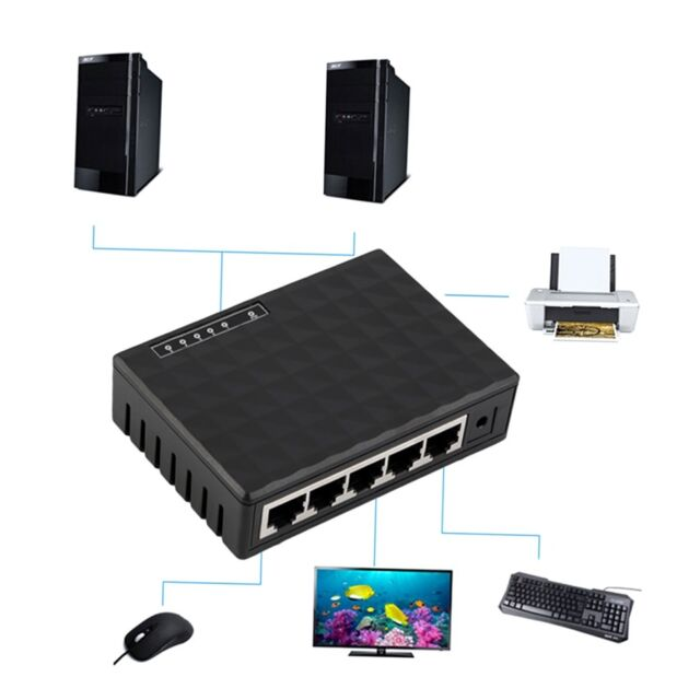 5 Port 10 100Mbps Desktop Ethernet Network LAN Power Adapter Switch Hub plug TM