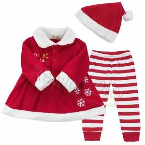 Christmas santa claus baby girls fancy dress up party 3pcs outfits set