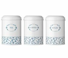 Blue Rose Tea Coffee Sugar Storage Jars Canister Elegant Style