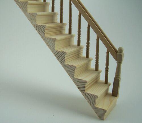 Treppe rechts aus Holz für 1:12 Puppenstuben Unbehandelt 21,5 cm