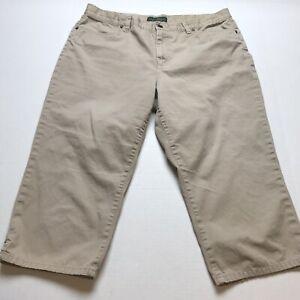 Lauren-Ralph-Lauren-Tan-Crop-Capri-Pants-Size-16-A949