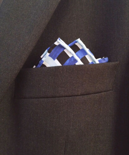 Silk Mens Pocket Square-Hand Rolled 100/% Silk Striped Pocket Square