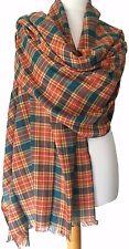 Tartan Scarf Orange Blue Teal Ladies Plaid Shawl Mens Cotton Checked Fair Trade