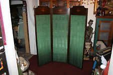"""Antique Victorian 3 Panel Room Divider-Inlay Wood W/Green Fabric-67 & 3/4"""" Tall"""