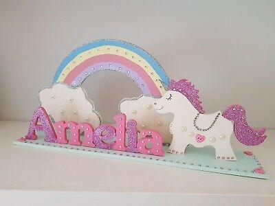 Unicorn Regalo Personalizzata Vivaio Decorazione Unicorno Ragazze Nome Firmare Glitter- Stile (In) Alla Moda;