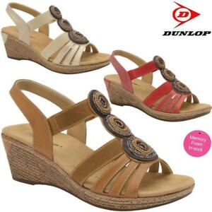 Ladies-Women-Memory-Foam-Wedge-Heel-Walking-Summer-Strappy-Dress-Sandals-Shoes