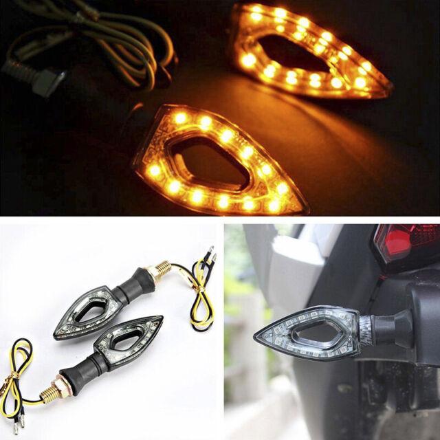 Universal Motorcycle LED Turn Signal Lights Indicator Blinker Lamps Amber CCO