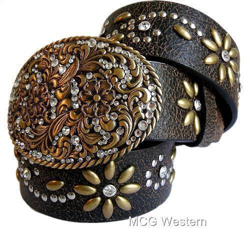 Nocona Western Womens Belt Flower Crystal Brown N3441602