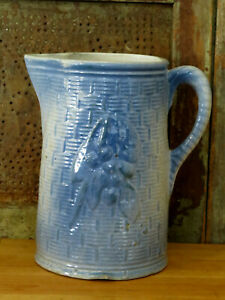 Blue-amp-White-Stoneware-Pottery-Pitcher-CHERRIES-BASKET-WEAVE-Primitive-Antique