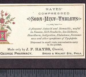 Soda-Mint-Sick-Headache-Cure-Hayes-Chemist-Philadelphia-Nausea-Tablet-Trade-Card