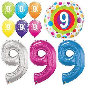 Détails Sur 9 Ans Joyeux 9e Anniversaire Qualatex Ballons Hélium Fête Garçon Fille