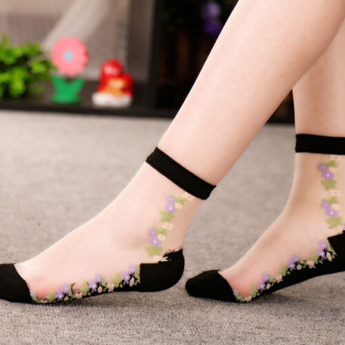 Summer Lady Lace Socks Crystal Glass Silk Short Thin Transparent Flower Socks UK