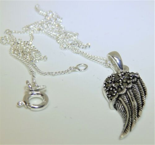 Necklace Sterling Silver 925 Marcasite Angel Wing Pendant Choice of Chain