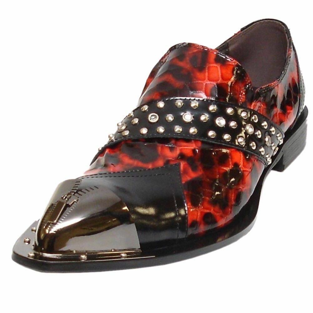Fiesso Black Red Animal Design Leather Pointed Metal Toe Men Slip on Party shoes