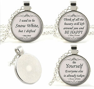 Silver-Quote-Necklace-Pendants-Poetry-Music-Song-Lyrics-Movie-Religion-Gifts
