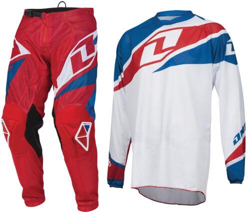 2016 One Industries Atom Ventilato Motocross Kit Rosso Bianco Blu Pantaloni