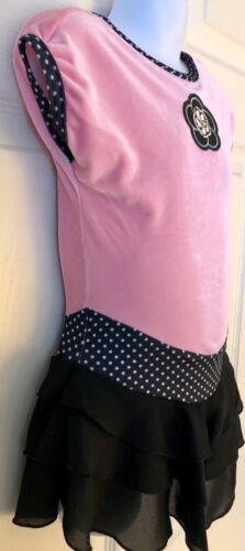 Details about  /GK ICE SKATE GIRLS SMALL CAP SLV PINK VELVT POLKA DOT PRINT RUFFLE DRESS Sz CS