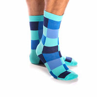 Amedeo Exclusive New Colourful Socks 4 Shades Blue Squares Combed Cotton AESO025