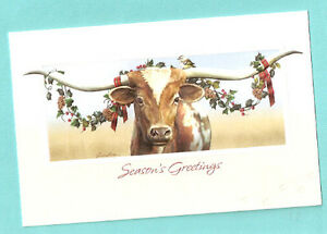 image is loading texas longhorn cattle cow embossed christmas cards box