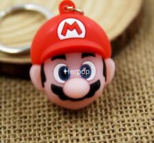 20pcs Super Mario mushroom head 3D PVC Rubber Toys gift Key chain Keyring S-04